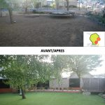 transformation de jardin gazon artificiel